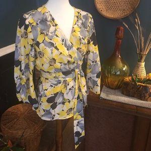 Ann Taylor Loft Floral Wrap Blouse